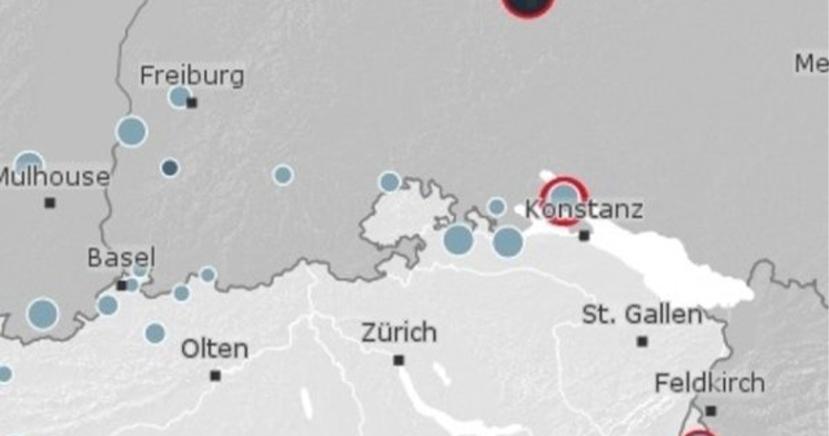 50 km nördlich von Schaffhausen bebt Erde